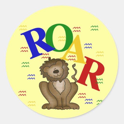 Camisetas y regalos del león del rugido pegatinas redondas
