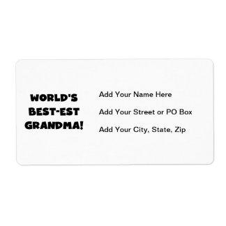 Camisetas y regalos del negro de la abuela del Mej Etiquetas De Envío