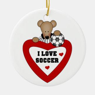 Camisetas y regalos del oso del fútbol adorno navideño redondo de cerámica