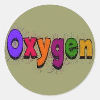 """Camisetas y regalos del """"oxígeno"""" del terapeuta pegatina redonda"""