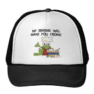 Camisetas y regalos del panadero de la rana gorras de camionero