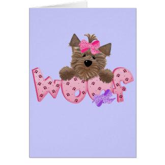 Camisetas y regalos del rosa del perro del tejido tarjeta de felicitación