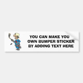 Camisetas y regalos divertidos del jugador de hock pegatina para coche