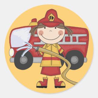 Camisetas y regalos femeninos del bombero pegatina redonda