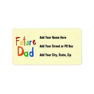 Camisetas y regalos futuros del papá del texto del etiquetas de dirección