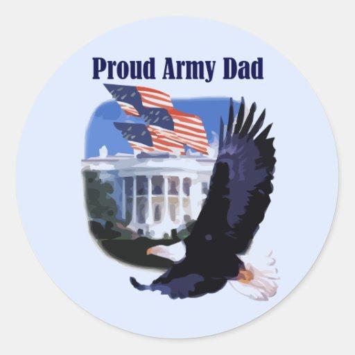 Camisetas y regalos orgullosos del papá del pegatina redonda