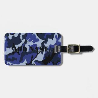Camo azul añade el nombre, etiqueta del equipaje