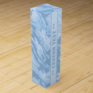 Camo azul claro con el texto de encargo caja para vino