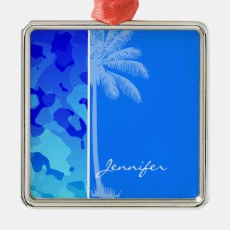 Camo azul eléctrico; Palma del verano Adorno Cuadrado Plateado