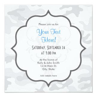 Camo blanco fresco, camuflaje invitación 13,3 cm x 13,3cm