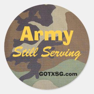 camo del arbolado, ejército, todavía sirviendo, etiqueta redonda