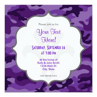 Camo púrpura brillante lindo, camuflaje invitación 13,3 cm x 13,3cm