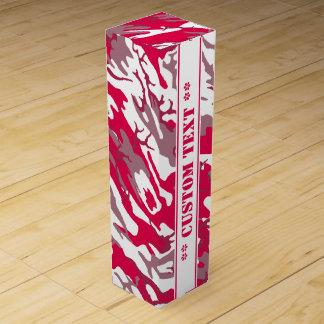Camo rojo con el texto de encargo caja para vino