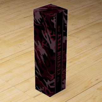 Camo rojo oscuro con el texto de encargo caja para vino