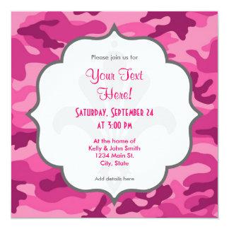Camo rosado brillante lindo, camuflaje invitación 13,3 cm x 13,3cm