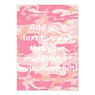 Camo rosado de hombres invitación 12,7 x 17,8 cm