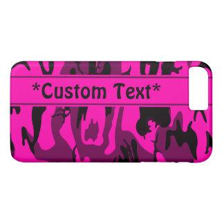 Camo rosado extranjero con el texto de encargo funda iPhone 7 plus