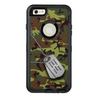 Camo verde con la placa de identificación funda otterbox para iPhone 6/6s plus