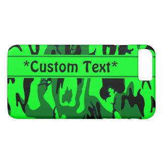 Camo verde extranjero con el texto de encargo funda iPhone 7 plus