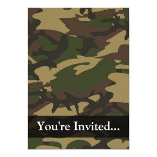 Camo verde polvoriento invitación 12,7 x 17,8 cm