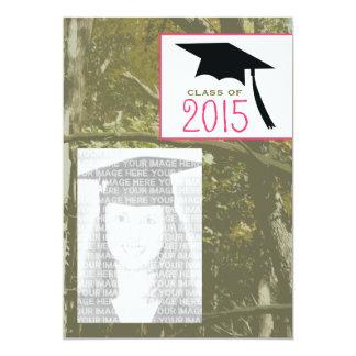 Camo y la clase rosada de la graduación 2015 de la invitación 12,7 x 17,8 cm