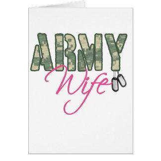 Camo y rosa de la esposa del ejército con las plac tarjetón