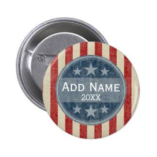 Campaña política - barras y estrellas del vintage chapa redonda 5 cm