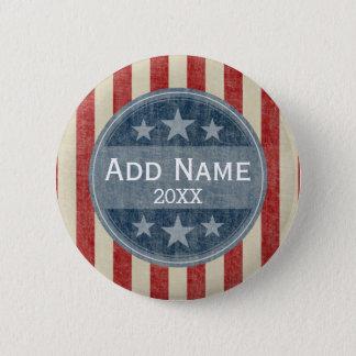 Campaña política - barras y estrellas del vintage chapa redonda de 5 cm