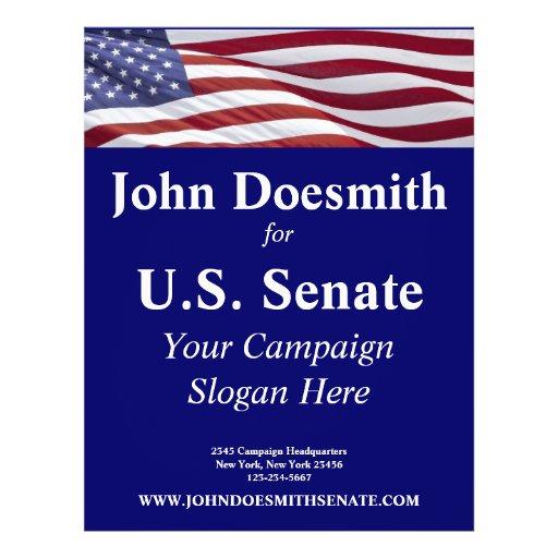 Campaña política patriótica tarjetas informativas