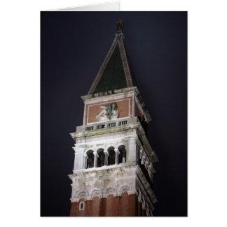 Campanario de Venecia San Marco en la noche Tarjeta De Felicitación