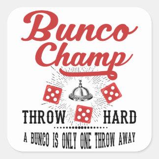 Campeón de Bunco Pegatina Cuadrada