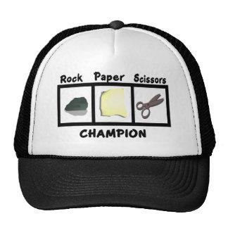Campeón de papel de las tijeras de la roca gorras de camionero