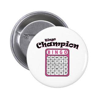 Campeón del bingo chapa redonda de 5 cm