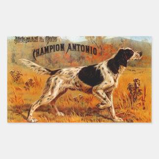 Campeón del perro de caza de la caza del anuncio pegatina rectangular