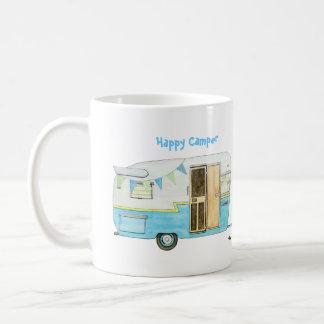 Campista contento taza de café
