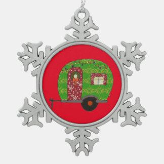 Campista del navidad adorno de peltre en forma de copo de nieve