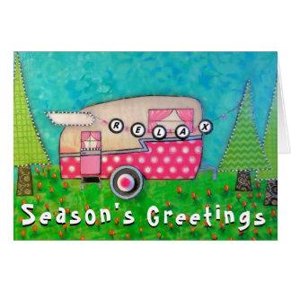 Campista retro del rosa de la tarjeta de Navidad