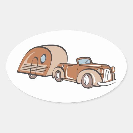 Campista y auto del vintage calcomanía óval