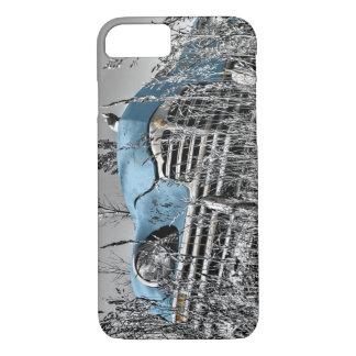 Campo blanco y negro del coche azul clásico funda iPhone 7