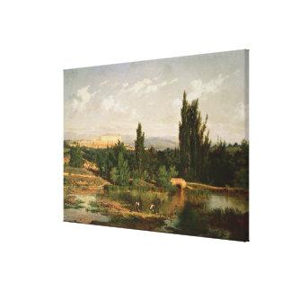 Campo con un río, Manzanares Impresiones En Lienzo Estiradas