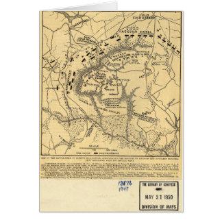 Campo de batalla del mapa de la guerra civil 1862 tarjetas