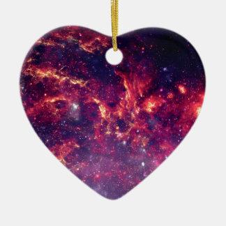 Campo de estrella en espacio profundo adorno navideño de cerámica en forma de corazón
