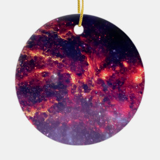 Campo de estrella en espacio profundo adorno navideño redondo de cerámica