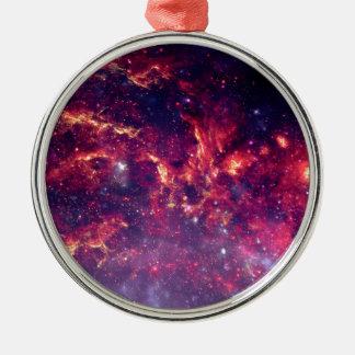 Campo de estrella en espacio profundo adorno navideño redondo de metal