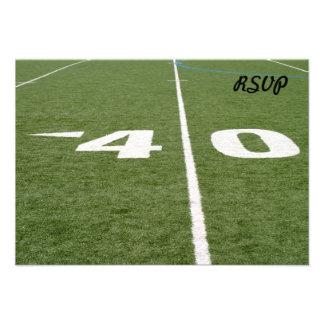 Campo de fútbol cuarenta invitación personalizada