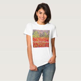 campo de la amapola del flower power camisetas