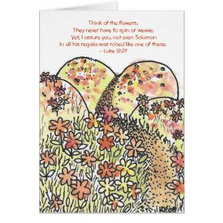 Campo de la tarjeta de felicitación de las flores