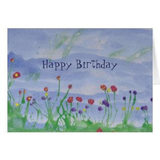 CAMPO de la tarjeta del Flor-Cumpleaños