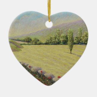 Campo de maíz cerca de Eymet, cumpleaños de Adorno Navideño De Cerámica En Forma De Corazón