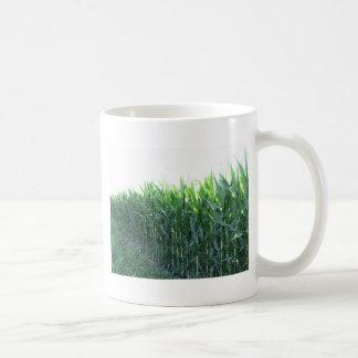Campo de maíz verde el día de verano taza de café